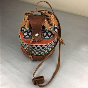 Vintage handmade drawstring woven mini bucket bag